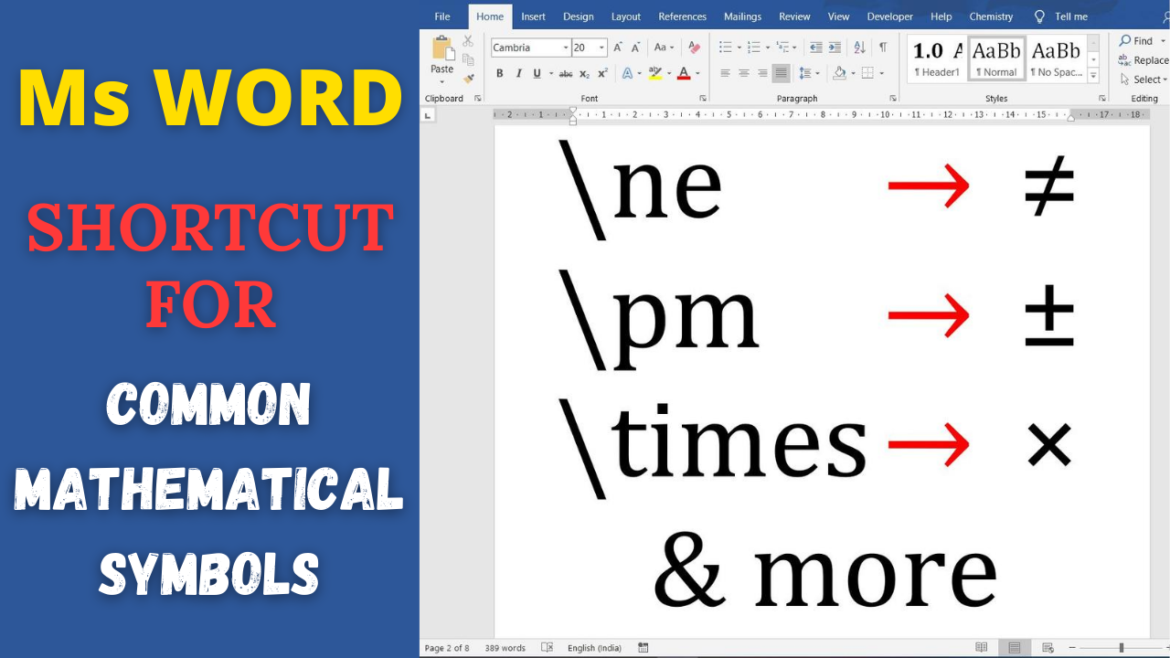 Ms Word shortcut for commonly used Mathematical and Scientific Symbols