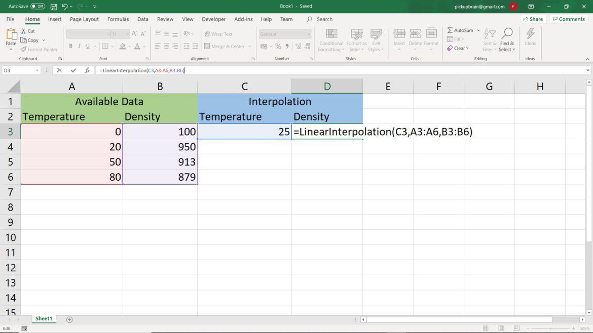 Automated interpolation formula for Excel: Define excel interpolate function & use it forever