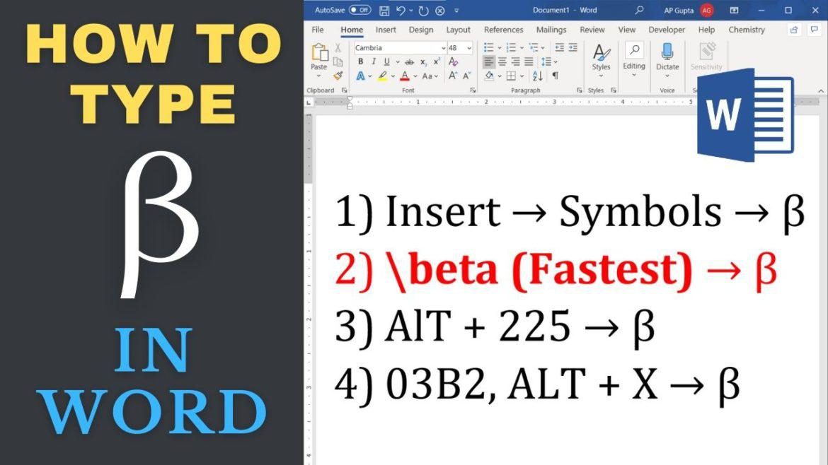 Four different ways to type Beta in Word