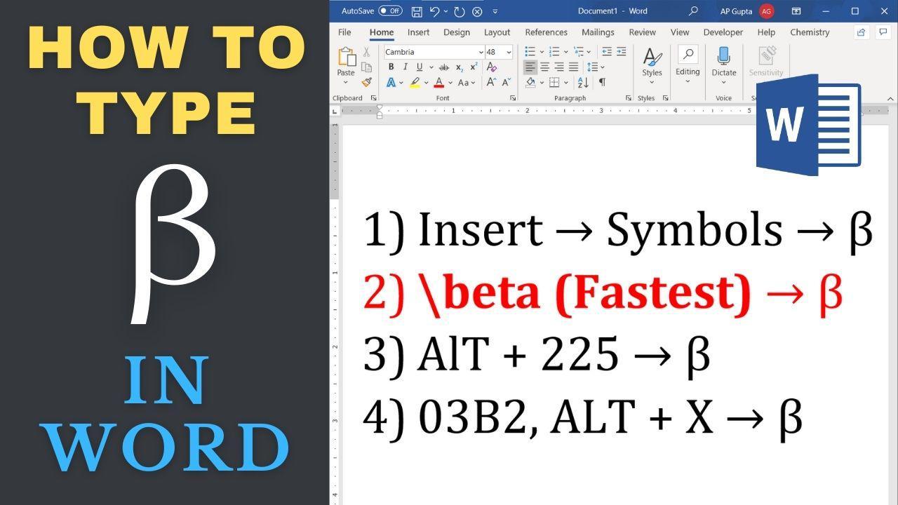 Four different ways to type Beta in Word - PickupBrain