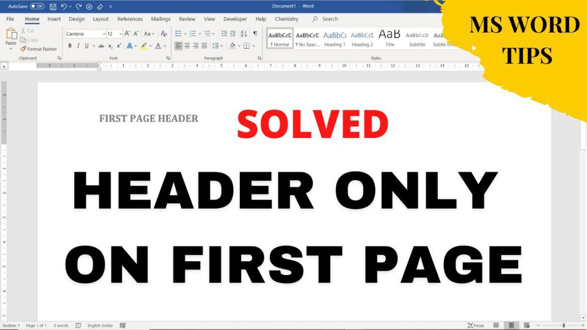 How to Insert Header Only on First Page of Ms Word document