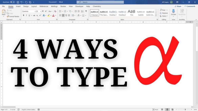 How to insert alpha symbol in Word: 4 Methods