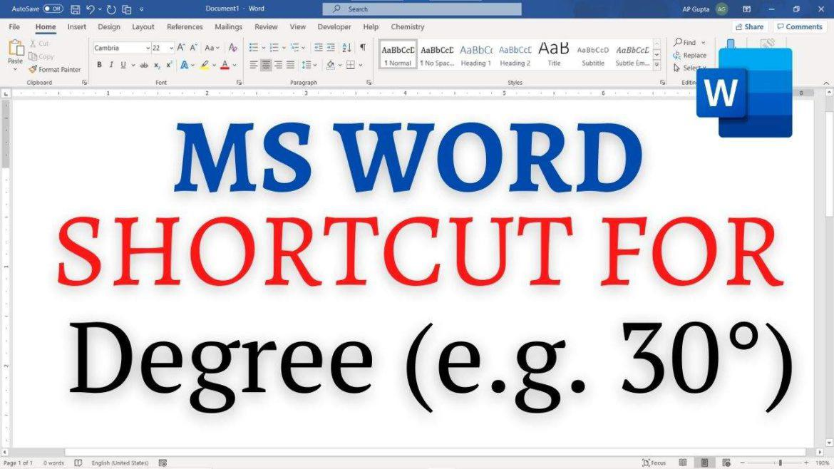Shortcut to type degree symbol in Word