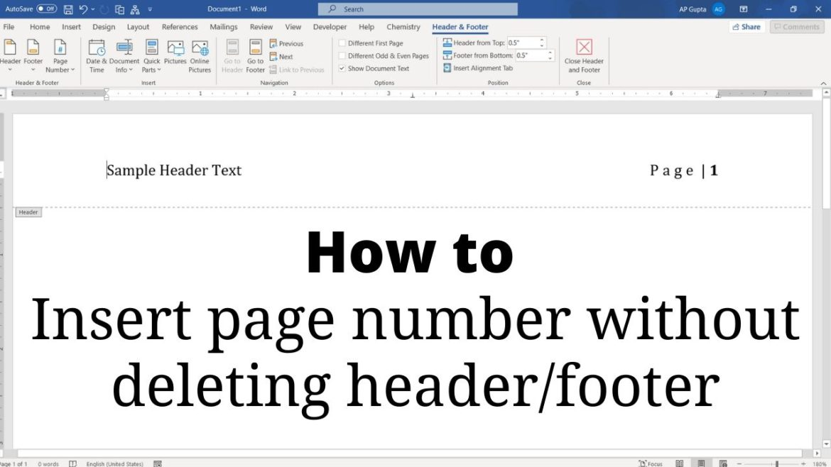 Insert page number in Word without deleting header/footer