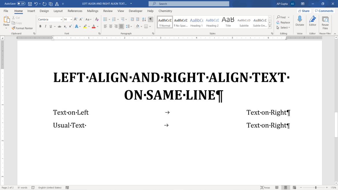 How to align text left and right on same line in Ms Word