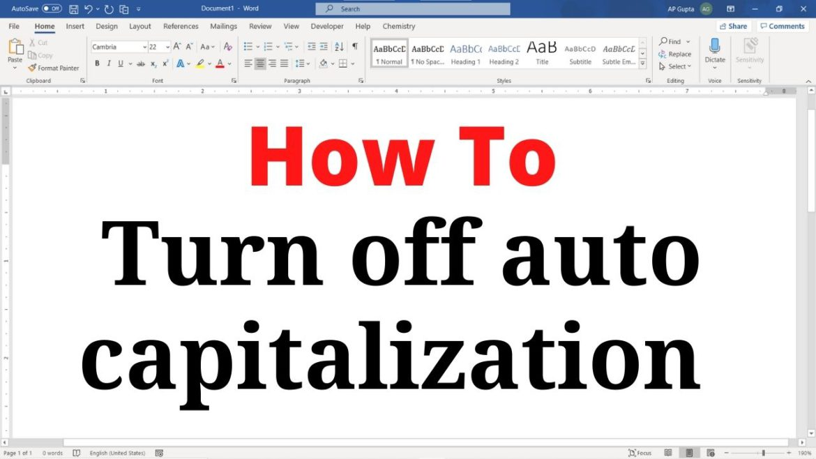 How to turn off auto capitalization in Word