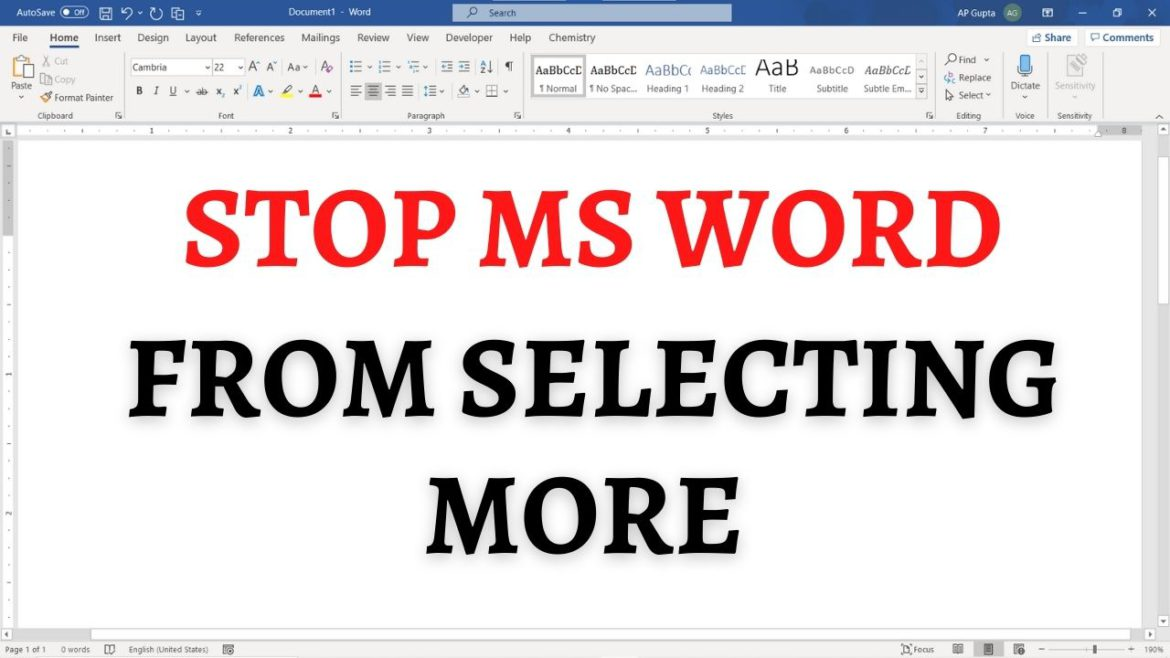 How to stop Ms Word from selecting more than you need