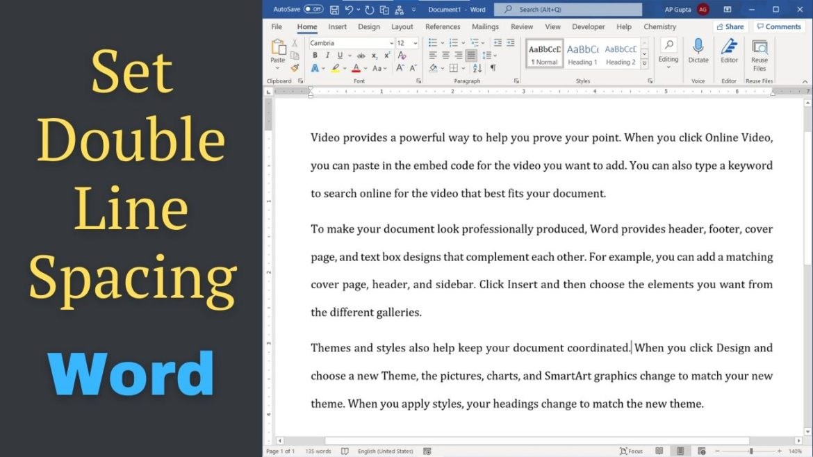 How to set double line spacing in Ms Word