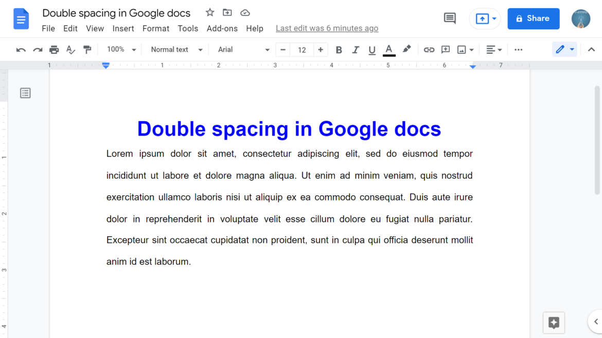 How to double space in Google Docs