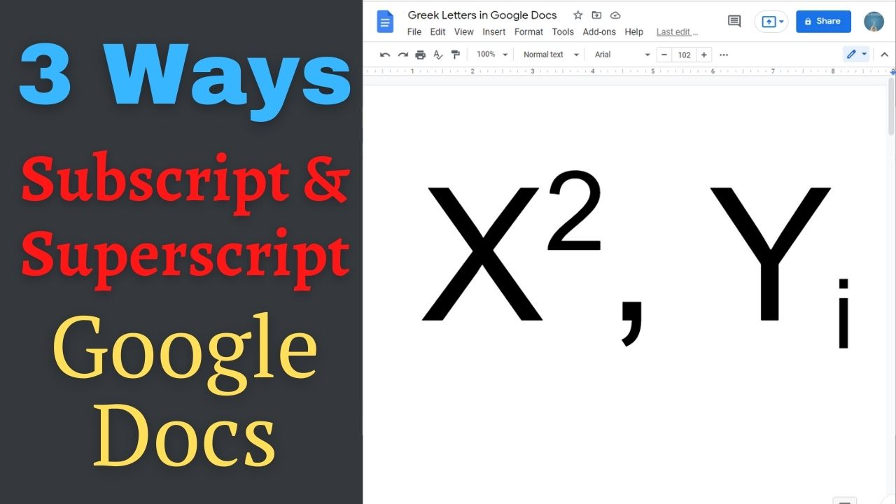 How to quickly type subscript and superscript in Google docs