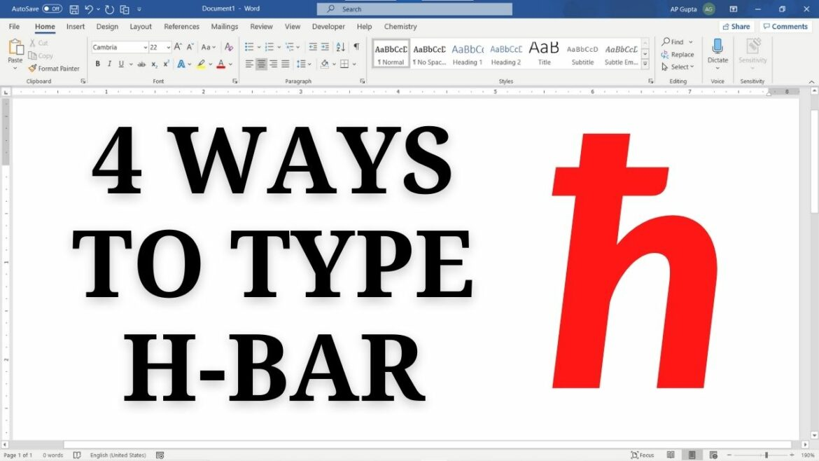 How to type H-bar (ħ) in Ms Word: 4 Methods including shortcut