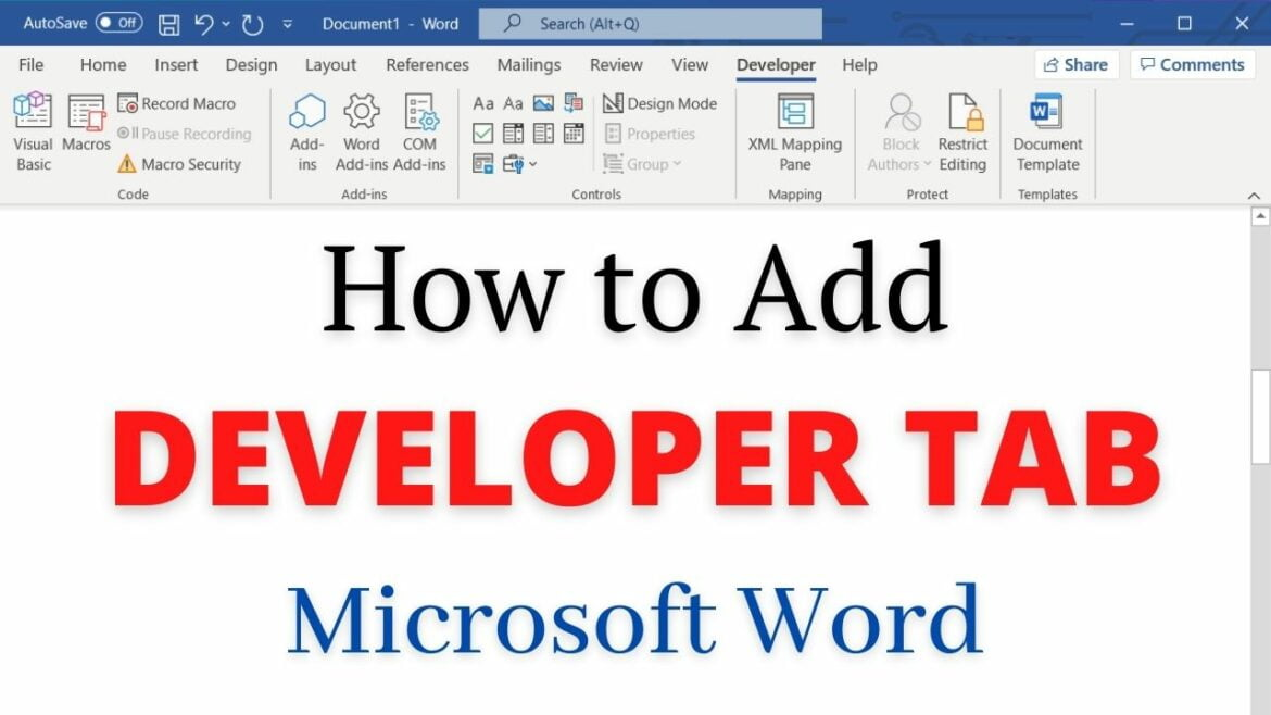 How to add developer tab to Microsoft Word
