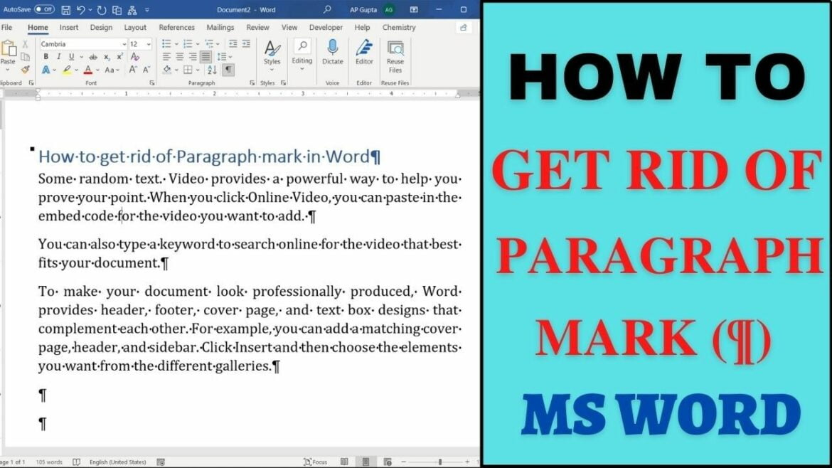 How to get rid of paragraph mark in word