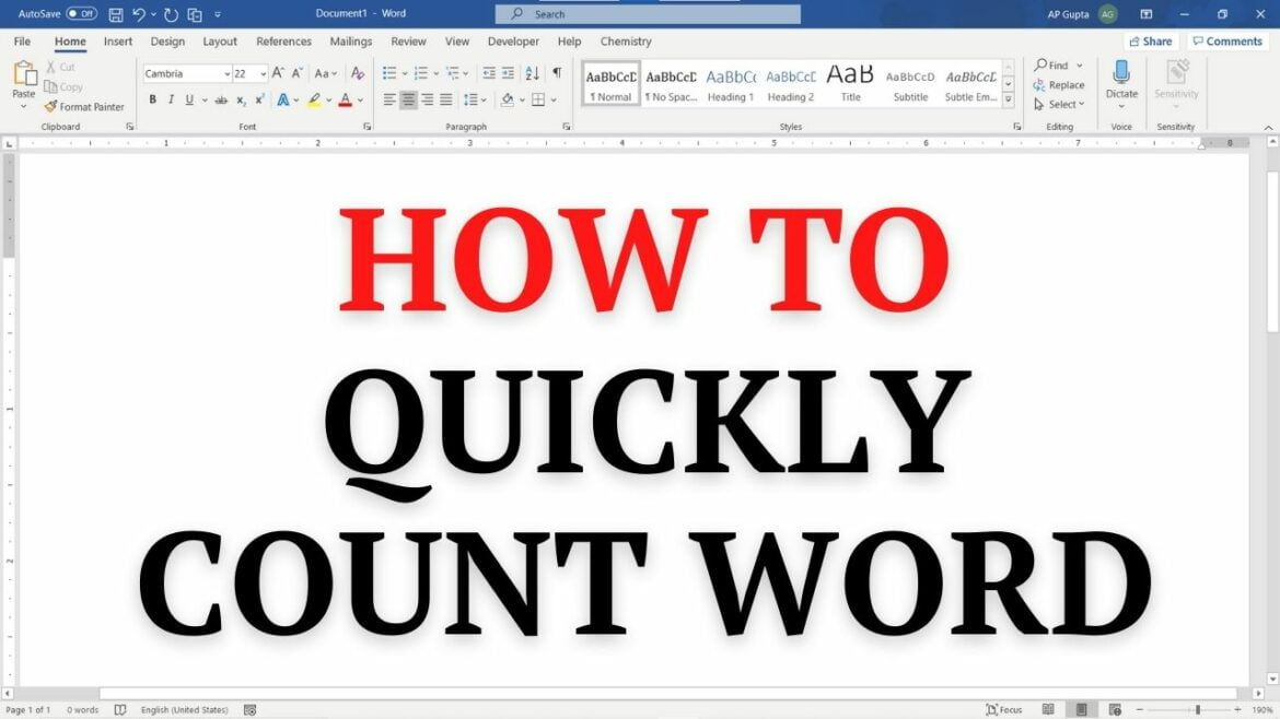 How to quickly count number of words in Word