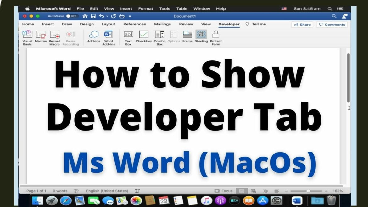 How to show developer tab in Word for MacOs
