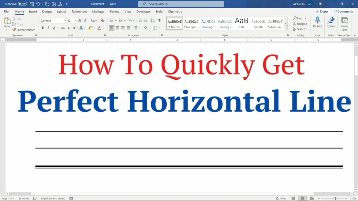 How to quickly get perfectly horizontal line in Word