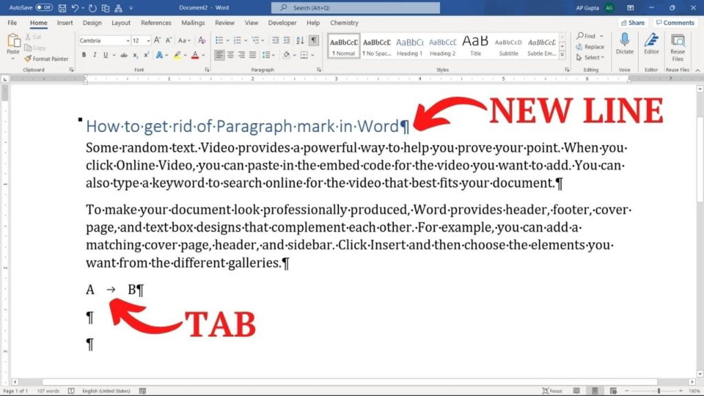 Example of paragraph symbol and other formatting character in Word