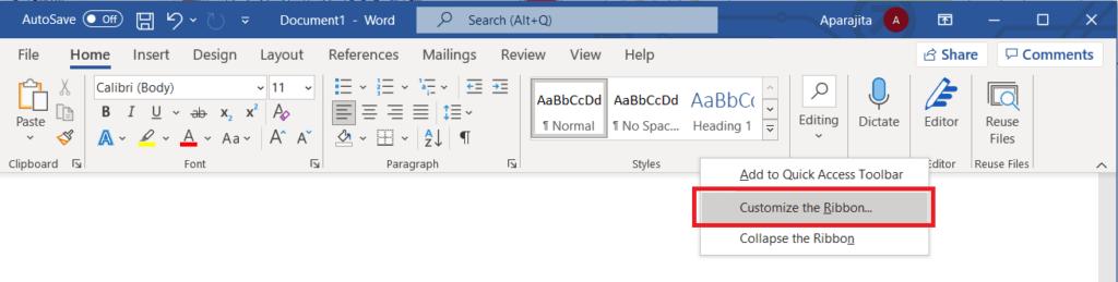 "Add developer tab in Word using ""Customize ribbon"""