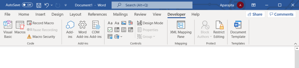 Developer tab in Word