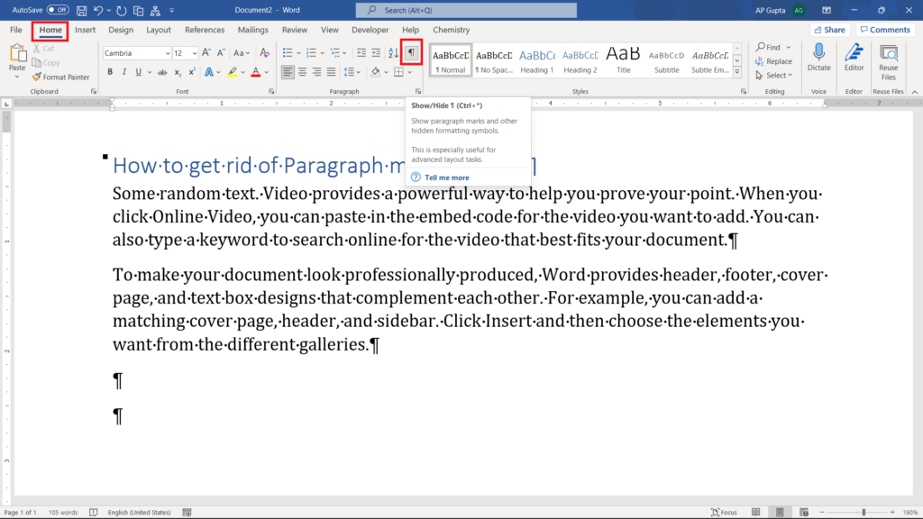 Remove paragraph and other formatting symbols using show/hide formatting option