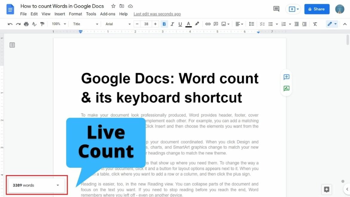 How to count words in Google Docs
