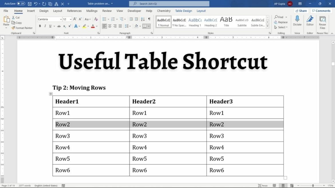 Must know shortcuts for working with Tables in Ms Word (Windows & Mac)